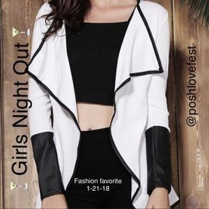 Sweaters - Faux Leather Asymmetrical Cardigan. 2X HP